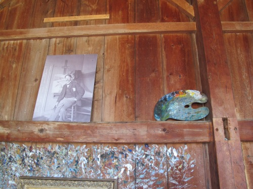Paint scrapings, palette and photo of Frank Benson